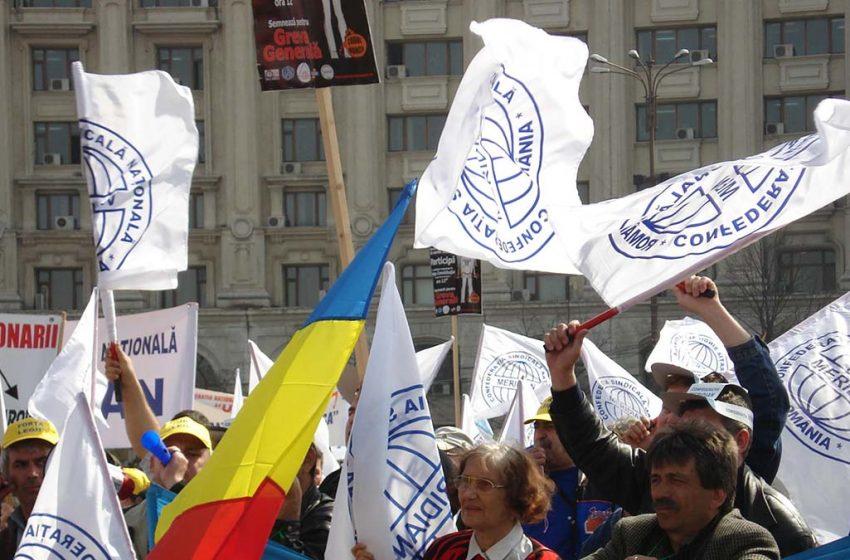 Protest astazi în Piața Victoriei organizat de Confederația Sindicală Națională MERIDIAN